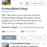 Twitter: @portlandbible Follow us on twitter for live updates on events, reminders of on and off campus events and verses of encouragement!